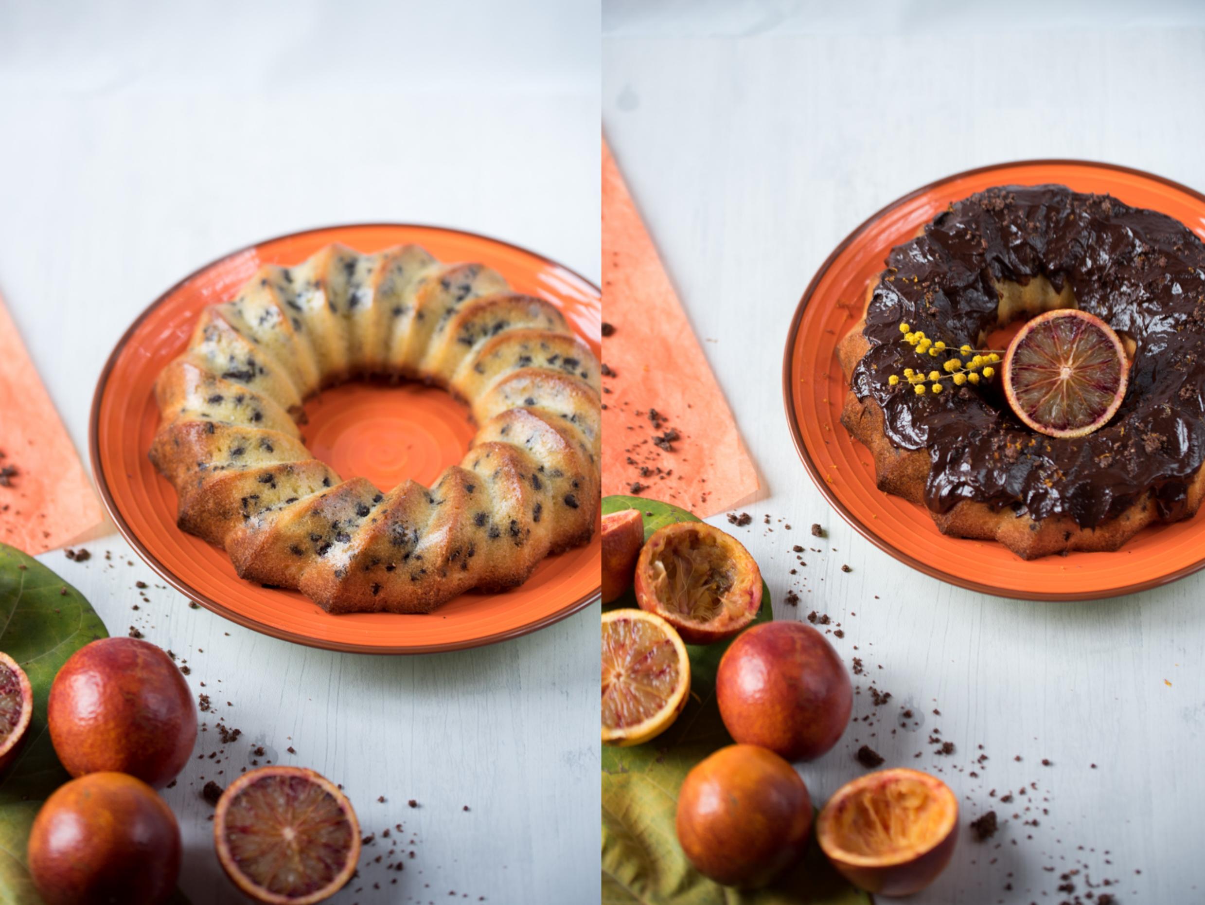Bundt cake orange sanguine, pépites de chocolat et glaçage au chocolat