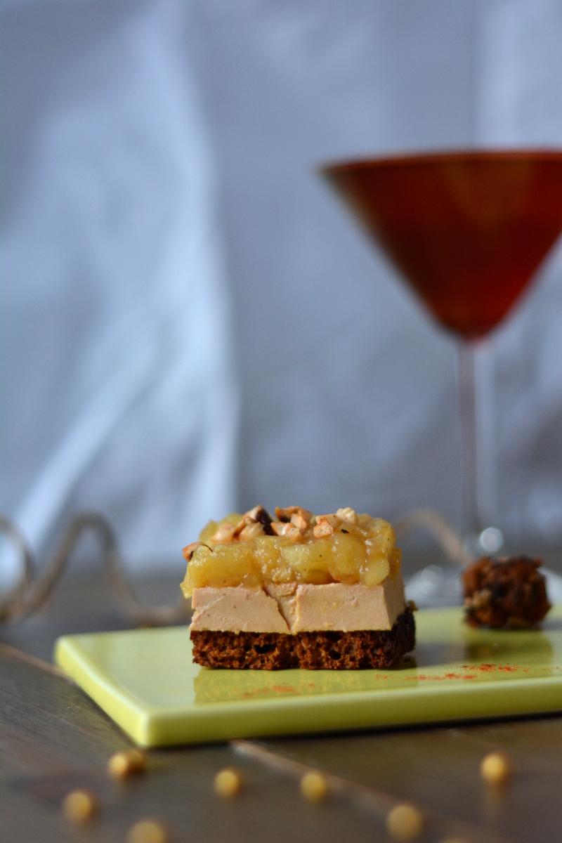 Tatin d'automne minute au foie gras (et son bonbon de foie gras)
