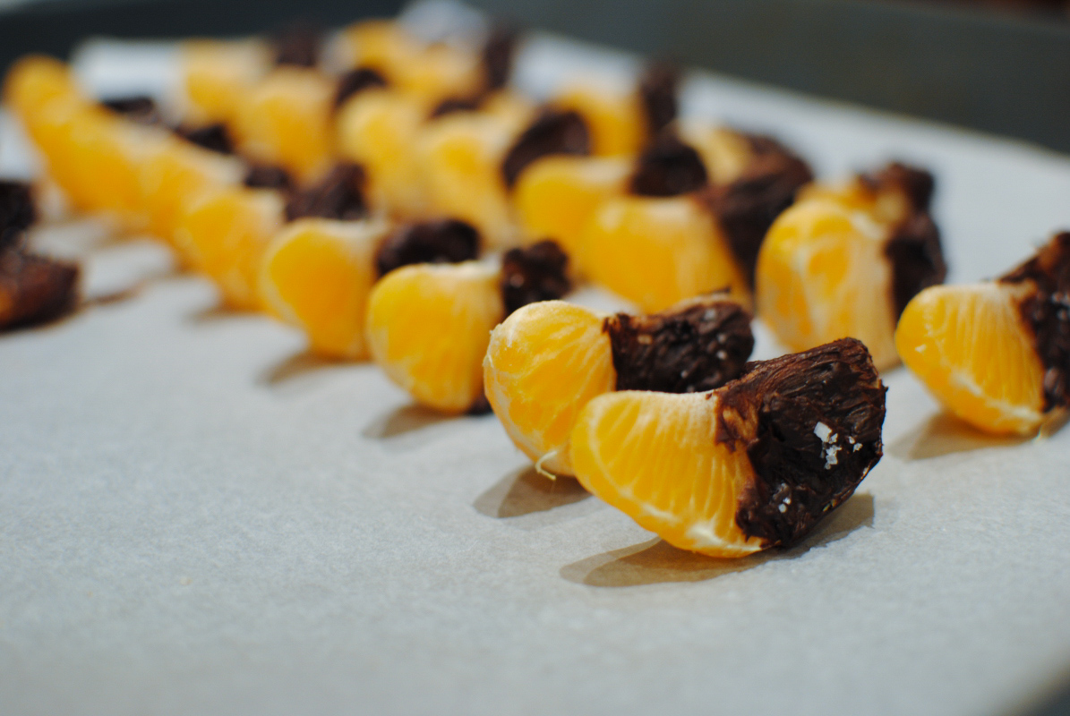 "chocolate and ""fleur de sel"" clementines"