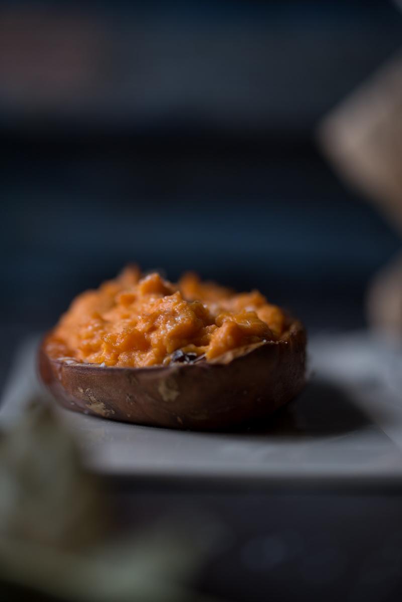 Patates douces farcies : fromage frais & chorizo