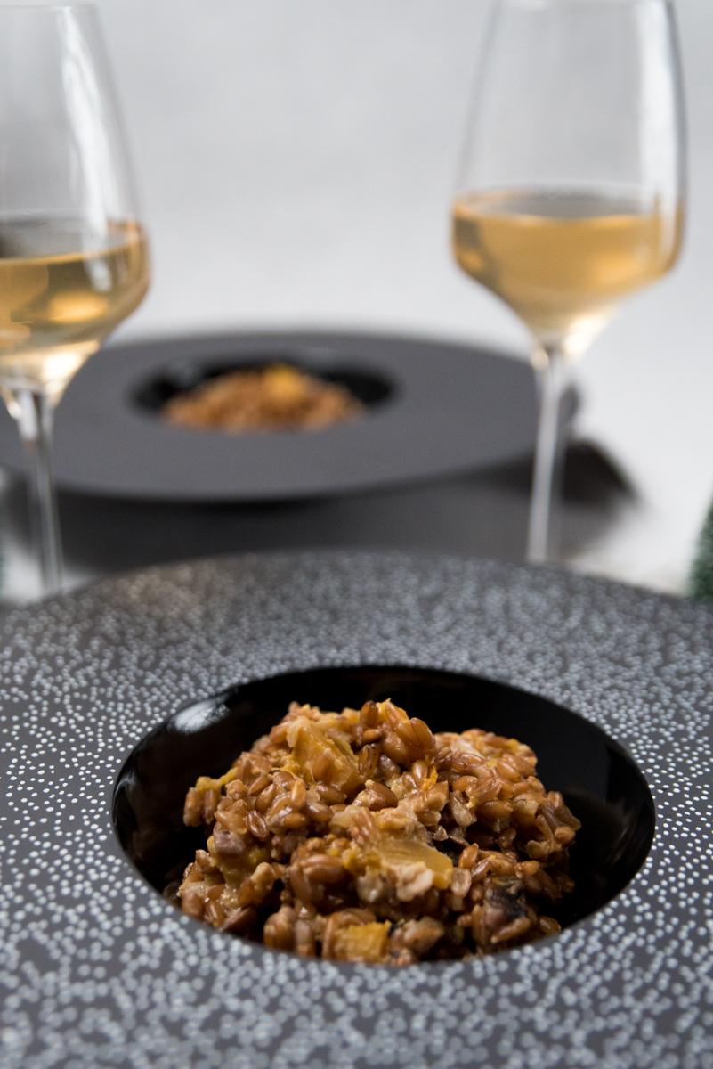 Risotto d'épeautre : butternut, châtaignes, champignons
